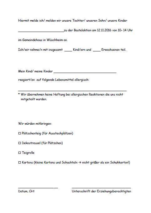 Einladung zum Plätzchenbacken